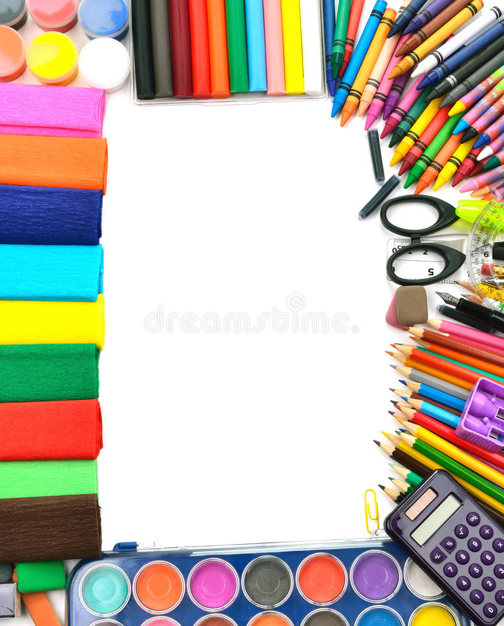 Download School And Office Supplies Frame Stock Image - Image of marker, learning: 26314391