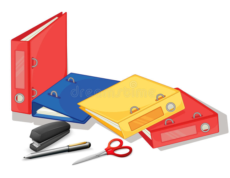 School and office supplies. Illustration of the school and office supplies on a white background royalty free illustration
