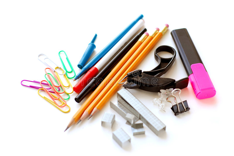 School office supplies on white stock image