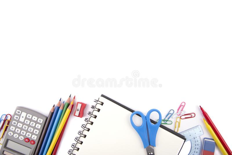 School or office supplies. On a white background royalty free stock photo