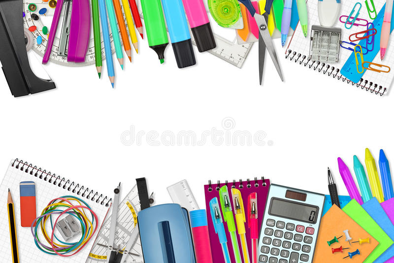 School / office supplies. On white background stock image