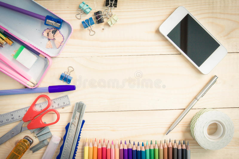 School and office supplies on wood background. Back to school.  royalty free stock photo