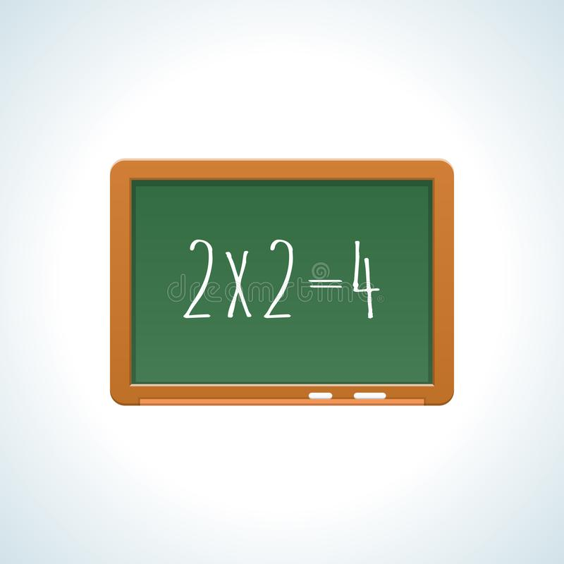 School onderwijs groene raad, een les in rekenkunde, wiskunde vector illustratie