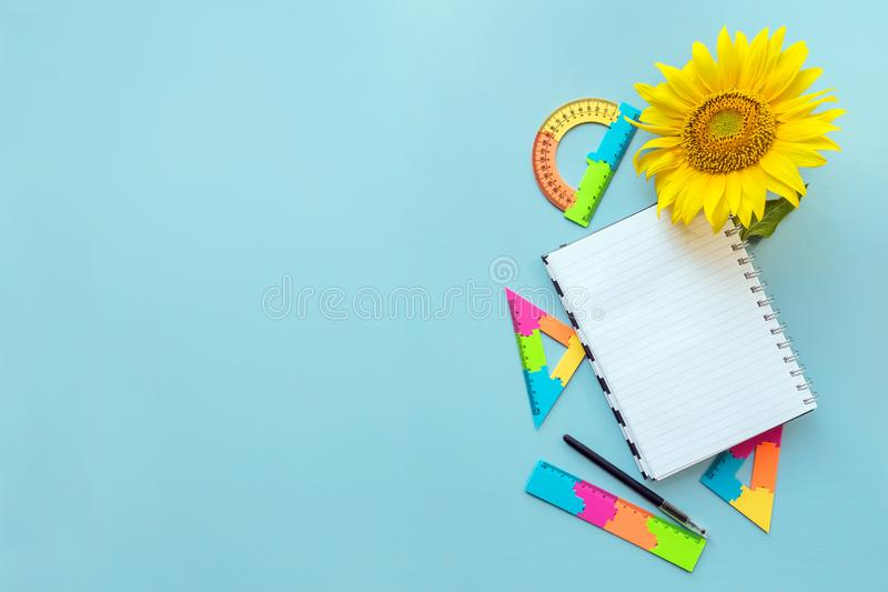 School open white notebook and sunflower on blue background, spiral notepad on a table. Still life, business, office, education c royalty free stock photo