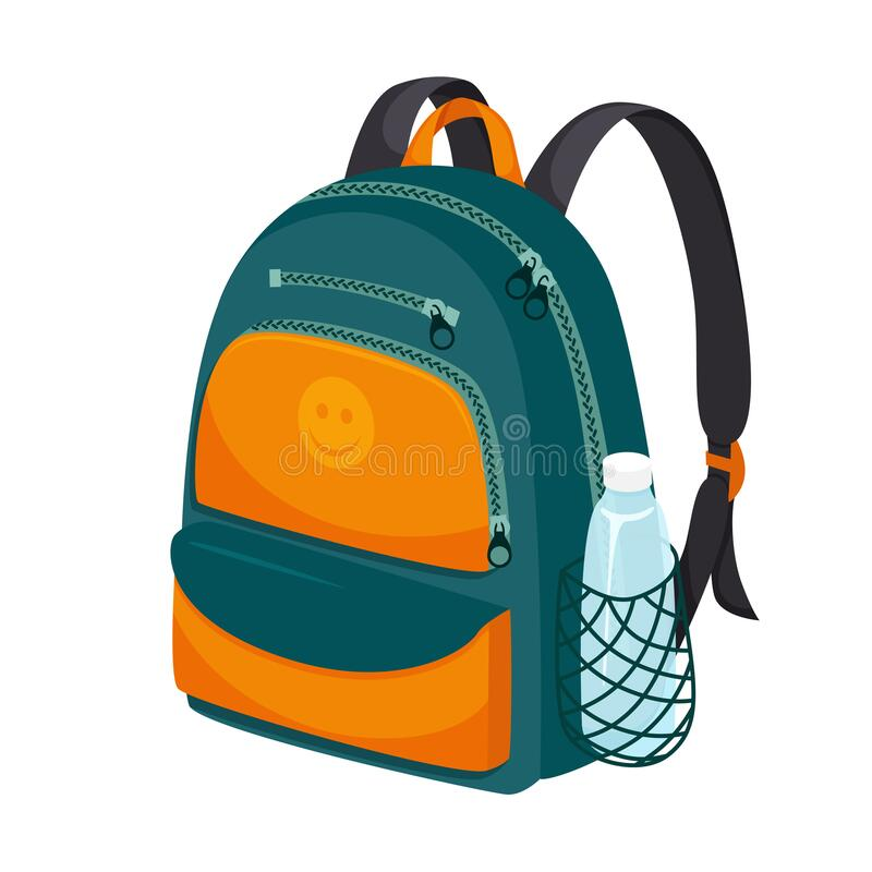 Free School Or Sports Backpack In Falt Style. With Zippered Pockets And A Water Bottle Pocket. Briefcase For Textbooks. Color Royalty Free Stock Photography - 192434387