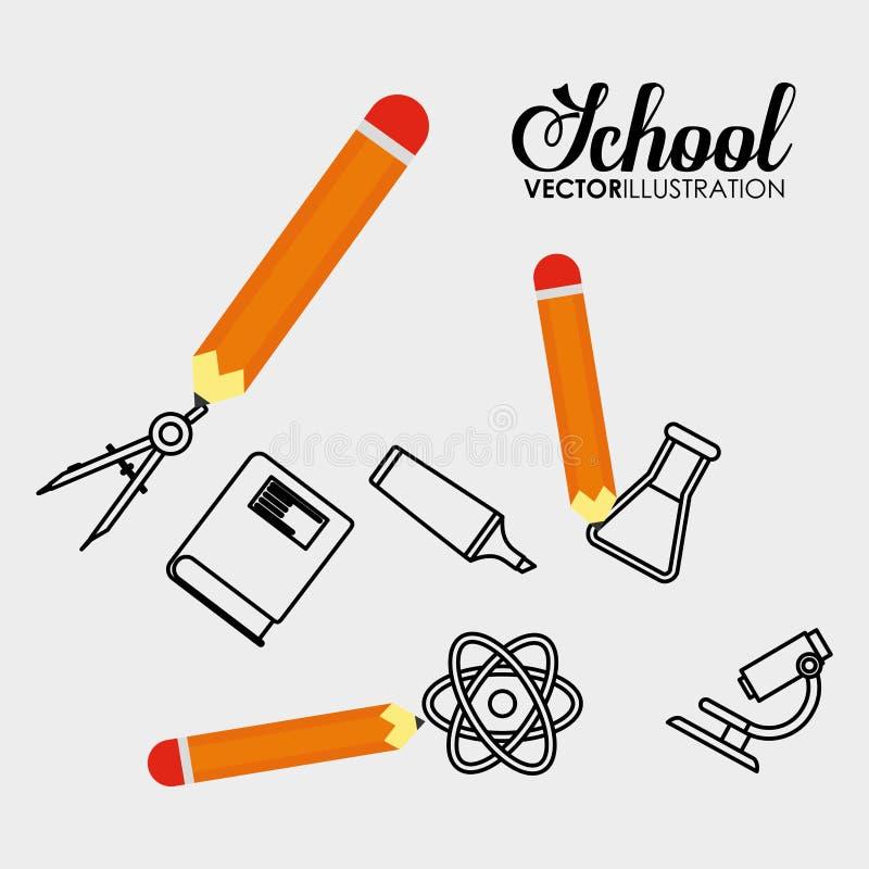 School pencil book microscope physical writing. Vector illustration eps 10 stock illustration