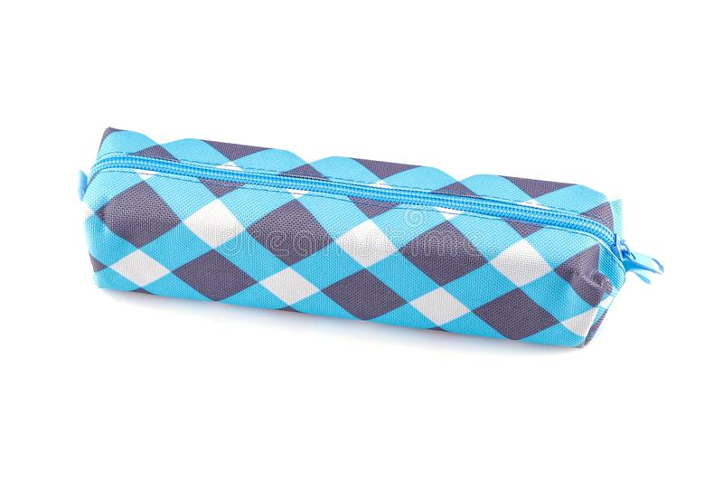 School pencil case on a white background. isolated royalty free stock photo