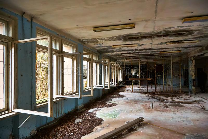 School premise in the city of Pripyat in Ukraine. Emptiness. Dampness. Exclusion Zone. Nuclear danger. Ghost City. Pripyat. Lost place. Ukraine. CCCP. Chernobyl royalty free stock photo