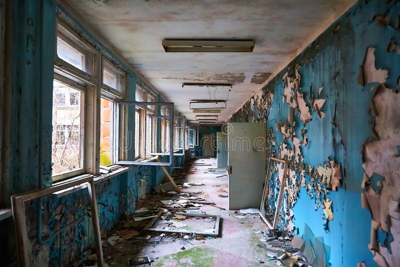 School premise in the city of Pripyat in Ukraine. Emptiness. Dampness. Exclusion Zone. Nuclear danger. Ghost City. Pripyat. Lost place. Ukraine. CCCP. Chernobyl royalty free stock images