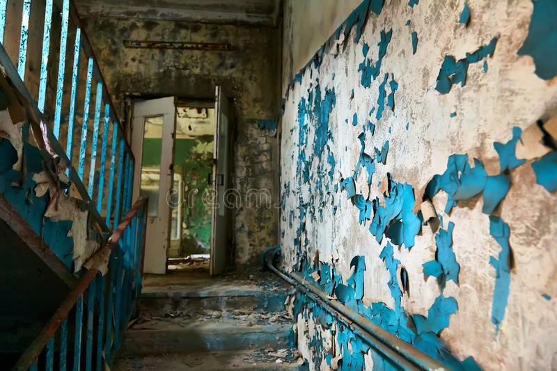 School premise in the city of Pripyat in Ukraine. Emptiness. Dampness. Exclusion Zone. Nuclear danger. Ghost City. Pripyat. Lost place. Ukraine. CCCP. Chernobyl stock photography