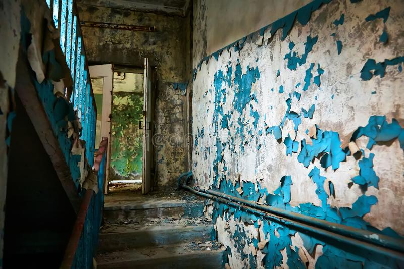 School premise in the city of Pripyat in Ukraine. Emptiness. Dampness. Exclusion Zone. Nuclear danger. Ghost City. Pripyat. Lost place. Ukraine. CCCP. Chernobyl stock photos