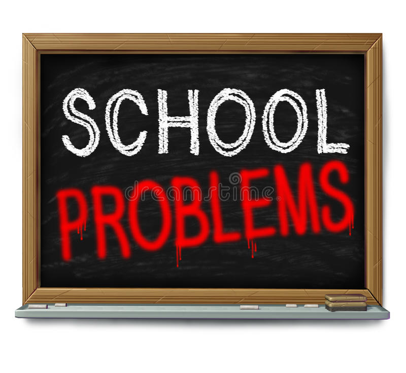 School Problems. And failing schools concept as a chalk blackboard with text written as an education trouble symbol or literacy and learning challenge or crime stock illustration