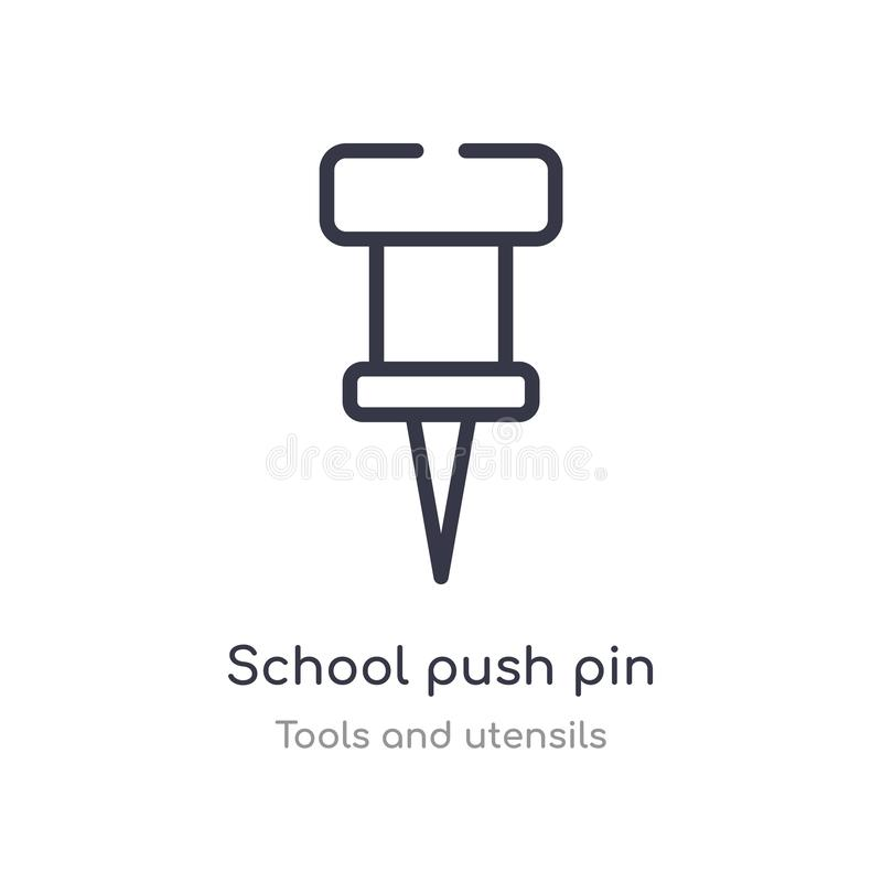 school push pin outline icon. isolated line vector illustration from tools and utensils collection. editable thin stroke school stock illustration