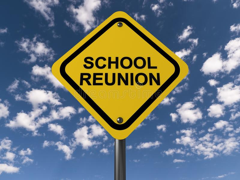 School reunion sign. School reunion in black text graphics on yellow traffic caution sign against blue skies with clouds stock illustration
