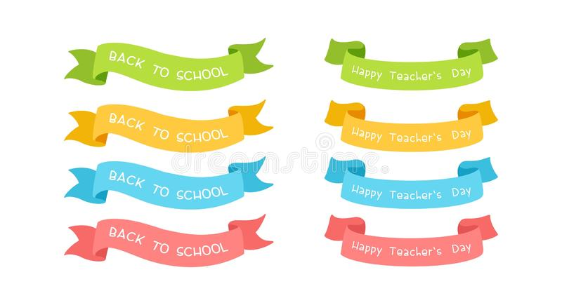 School ribbons vector illustrations with typography set royalty free illustration