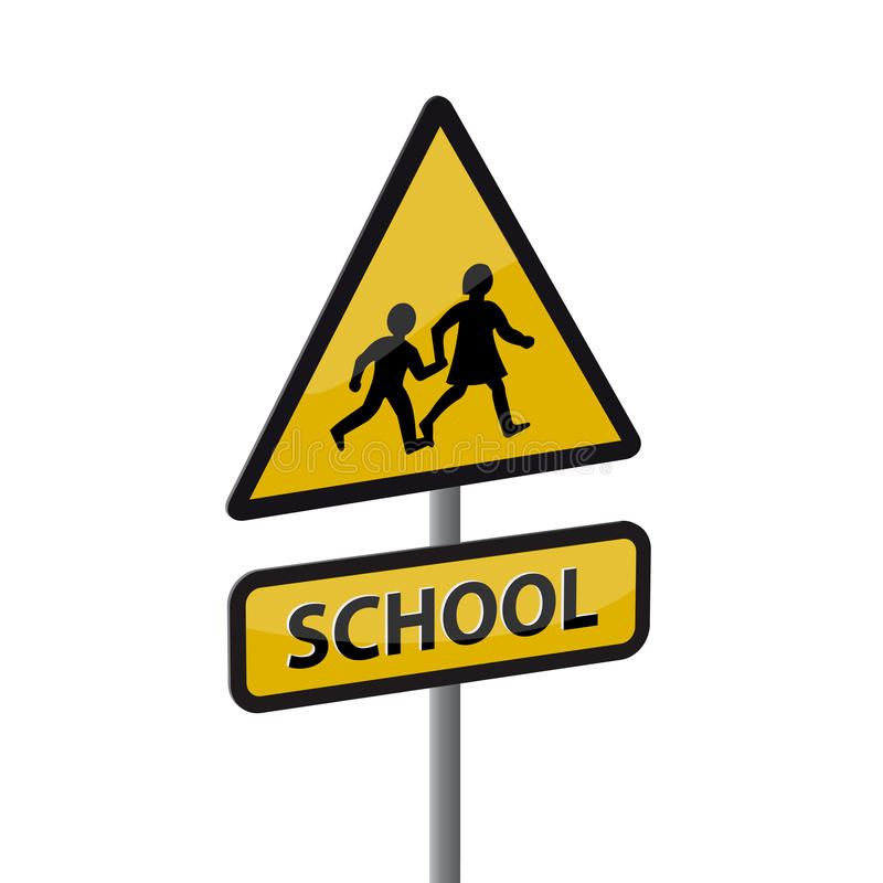 School road sign. Road sign - kids and school stock illustration