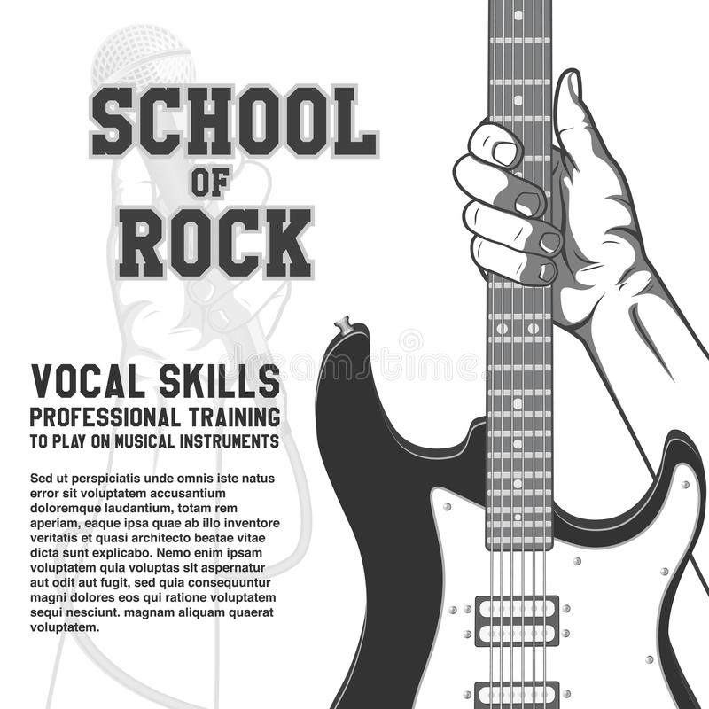 School of rock poster. Hand holding guitar. Black and white vintage illustration royalty free illustration