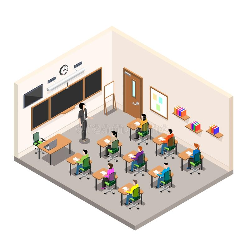 A school room for study, a classroom with desks and a school board, a modern class in isometric style vector illustration