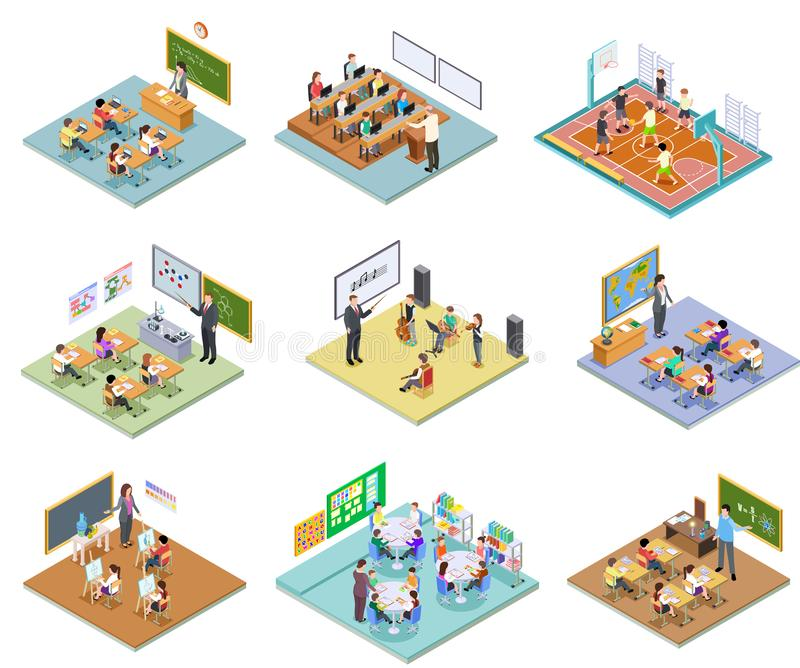 School rooms isometric. Library dining room lecture classroom gym sports hall toilet college university interior vector illustration