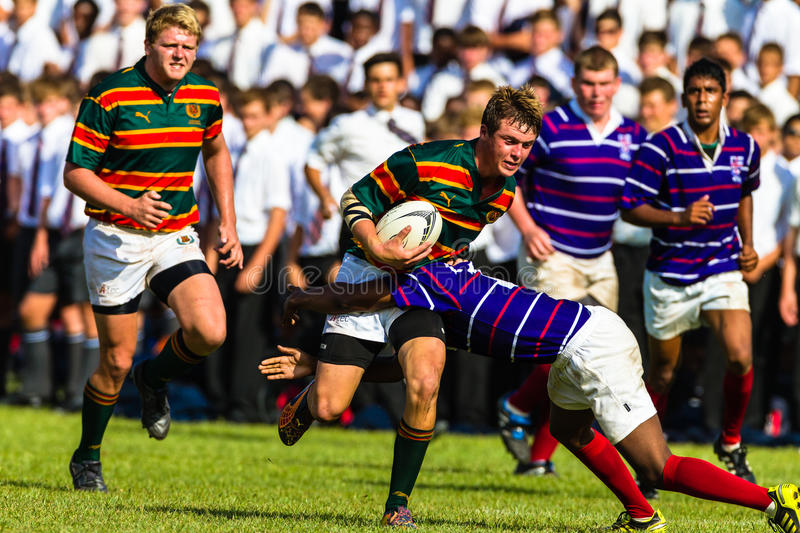 School Rugby Action Derby stock image