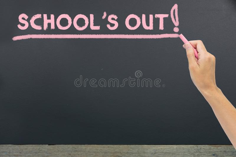 School`s out for summer on blackboard. Concept education with school stock image