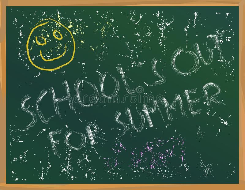 School`s out written on a blackboard, vacation,holiday, summer,. School themes. Vector illustration royalty free illustration