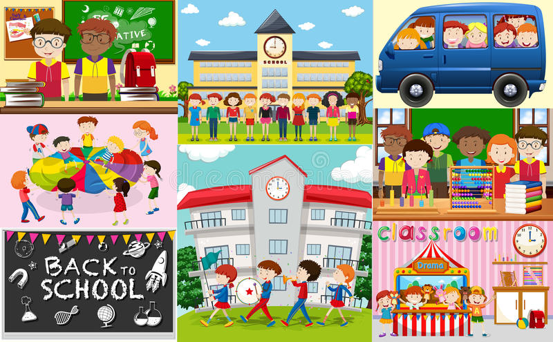 School scenes with students and classrooms royalty free illustration