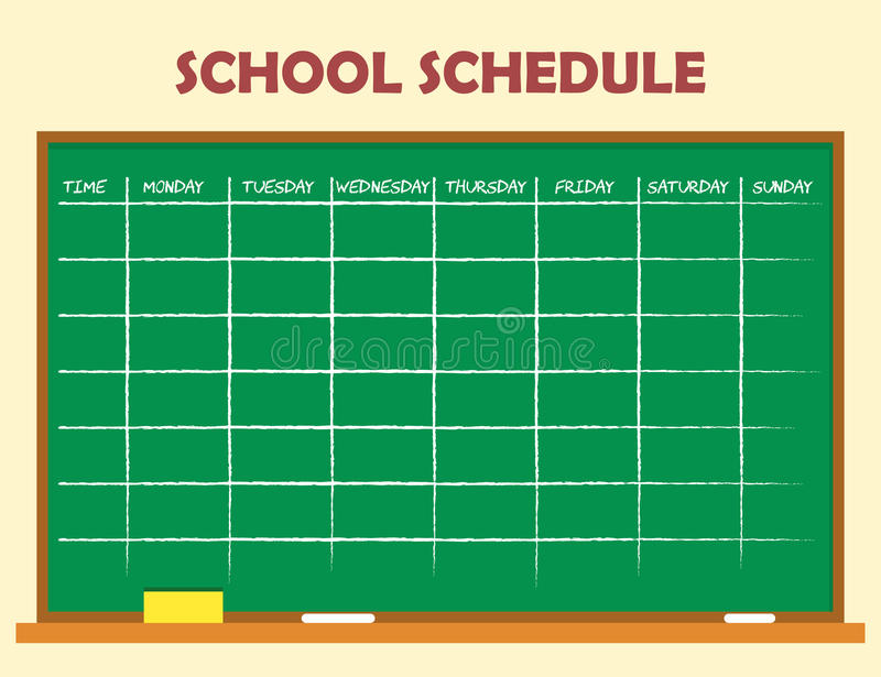 School Schedule Template Stock Vector Illustration Of School
