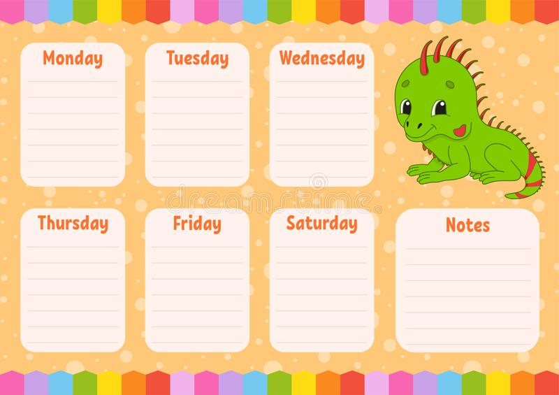 School schedule. Timetable for kids. Empty template. Weekly planer with notes. Isolated color vector illustration. Funny character. Cartoon style, day vector illustration