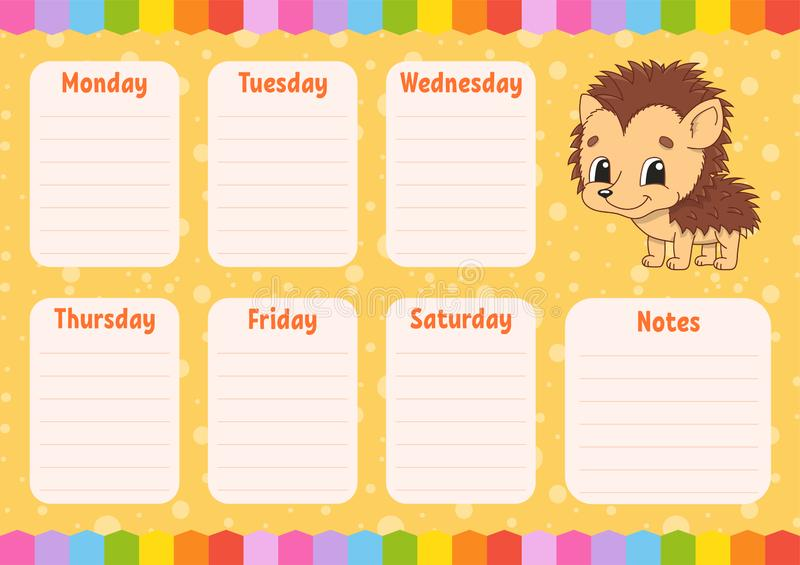 School schedule. Timetable for schoolboys. Empty template. Weekly planer with notes. Isolated color vector illustration. Funny. School schedule. Timetable for stock illustration