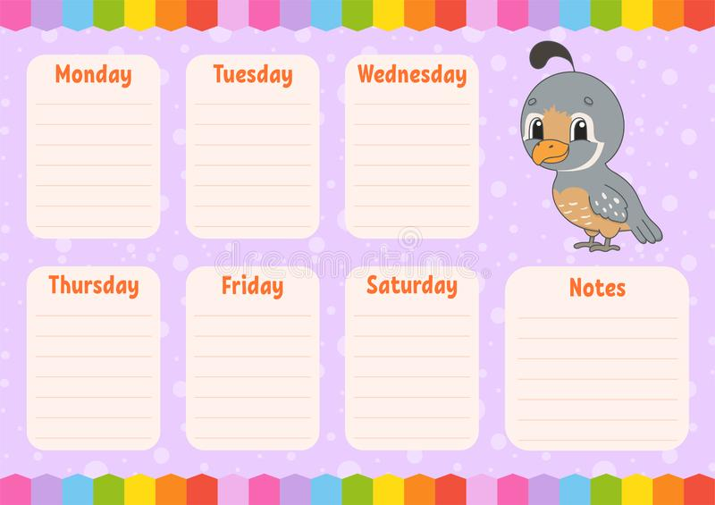 School schedule. Timetable for schoolboys. Empty template. Weekly planer with notes. Isolated color vector illustration. Funny. School schedule. Timetable for royalty free illustration