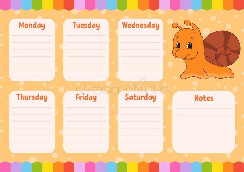 School schedule. Timetable for schoolboys. Empty template. Weekly planer with notes. Isolated color vector illustration. Funny. School schedule. Timetable for vector illustration