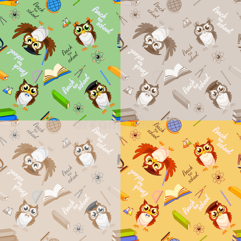 School seamless pattern with funny owls royalty free stock image
