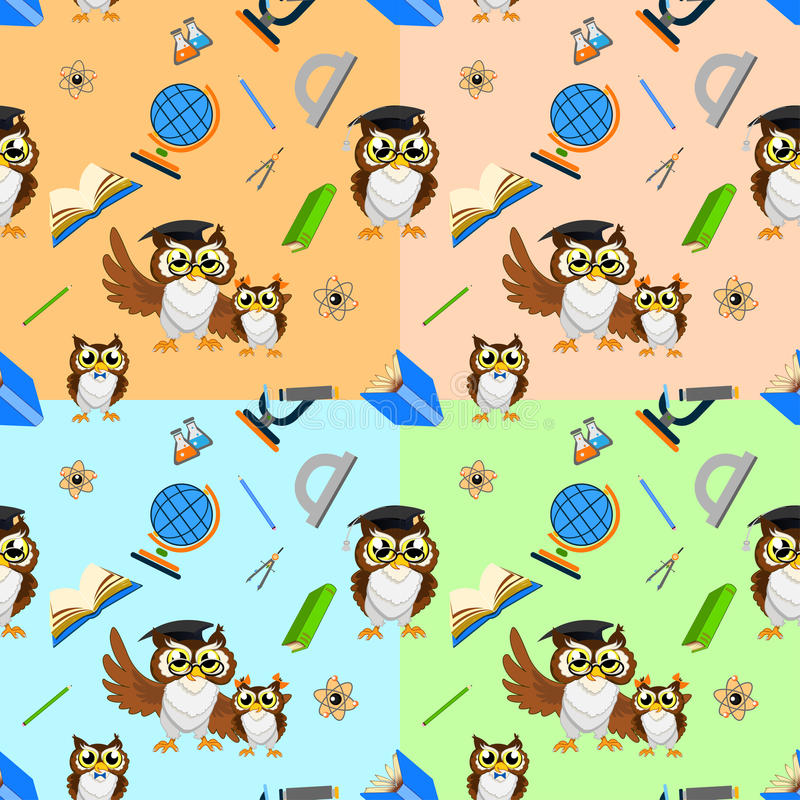 School seamless pattern with funny owls stock photography