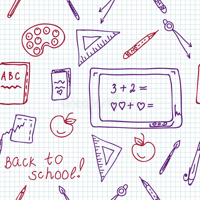 Download School Seamless Pattern In The Notebook Stock Images - Image: 16741004