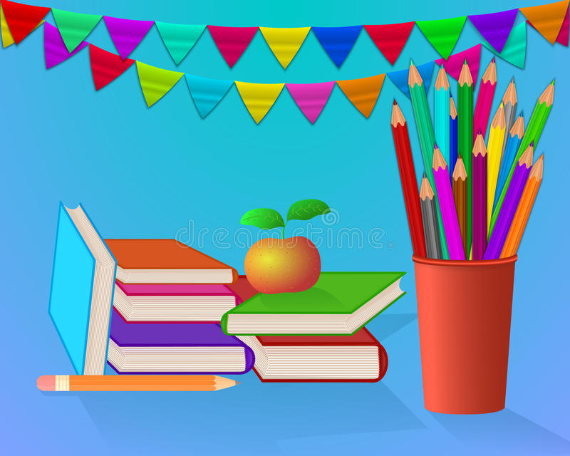 School set on blue background vector illustration