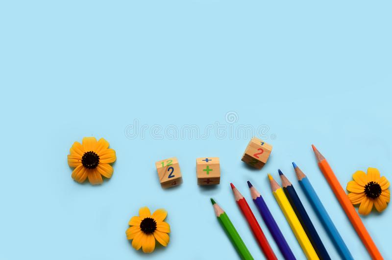 School set- pencils, paints, paper clips, brushes, scissors, autumn flowers on a blue background with space for text. Back to school. office tools. flat lay stock image