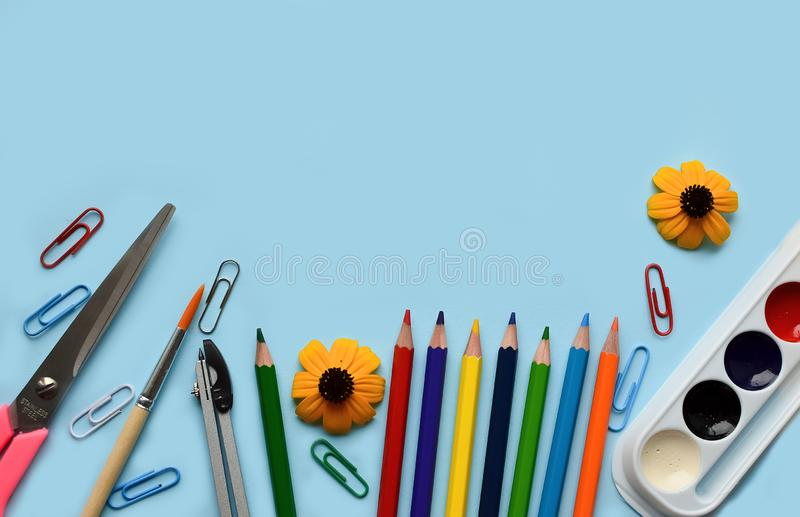 School set- pencils, paints, paper clips, brushes, scissors, autumn flowers on a blue background with space for text. Back to school. office tools. flat lay stock photo