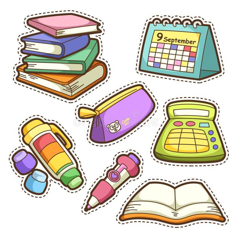 School set. set of different school items royalty free illustration