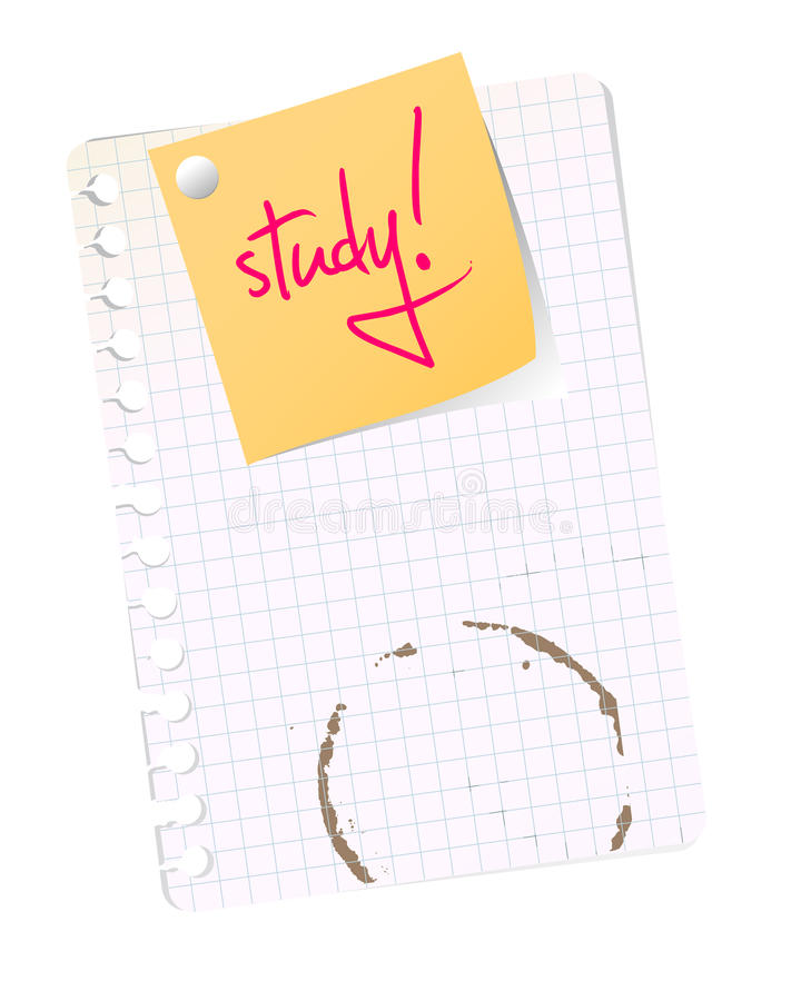 School sheet with study note. Yellow post it on squared sheed with text for study stock illustration