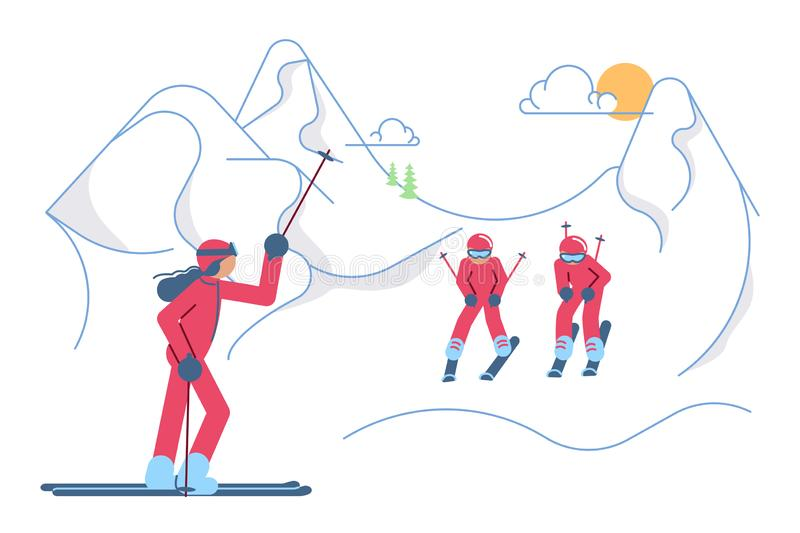 School Skiers on winter Mountain Landscape royalty free illustration
