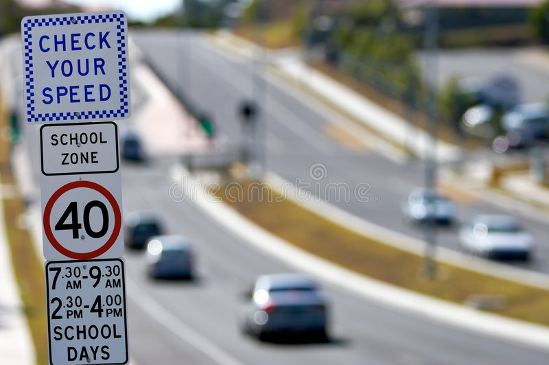 School Speed Zone Sign. Australian school speed zone signs warning drivers to slow down for saftey royalty free stock photography