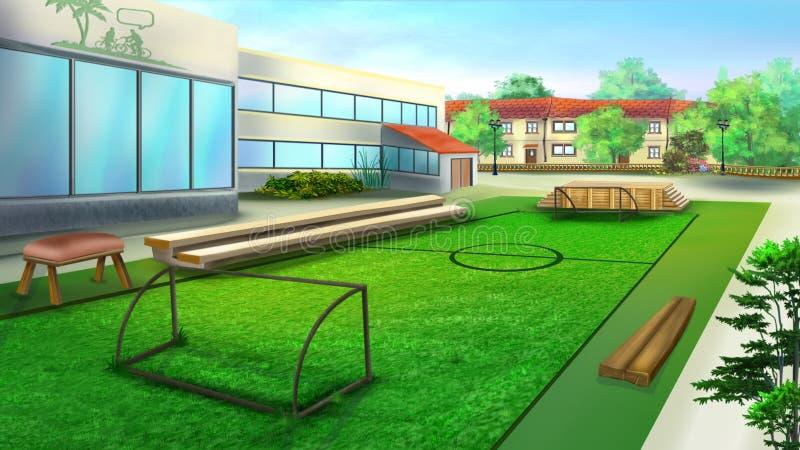 School Sports Ground and Football Stadium royalty free illustration