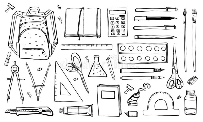 School stationery. Hand drawn outline doodle sketch vector objects set with writing and drawing materials vector illustration