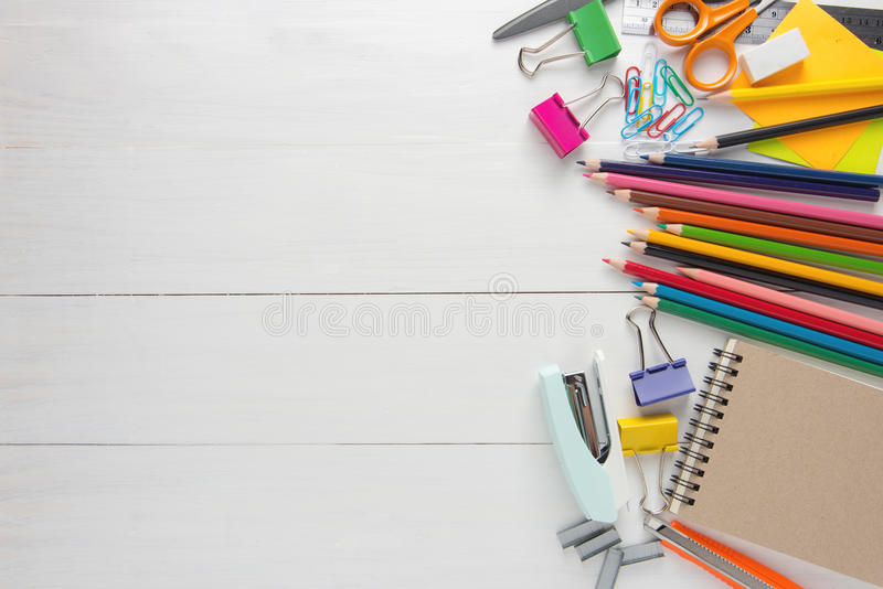 School stationery and Office supplies. On white table, top view, view from above stock photo