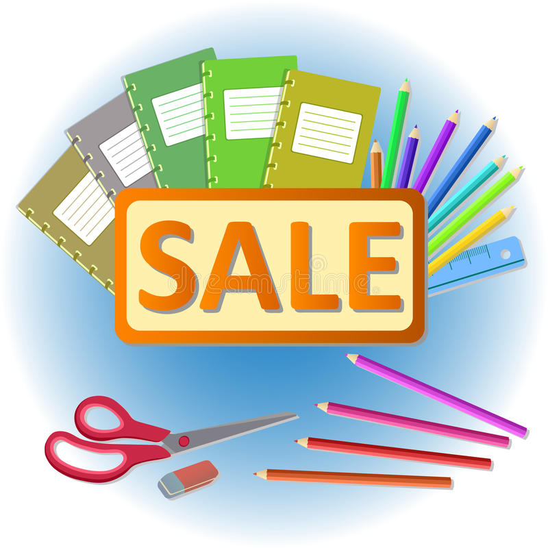School stationery sale royalty free illustration