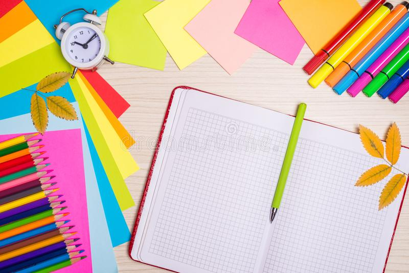 Download School Stationery Set On The Desk, Top View. Stock Photo   Image Of