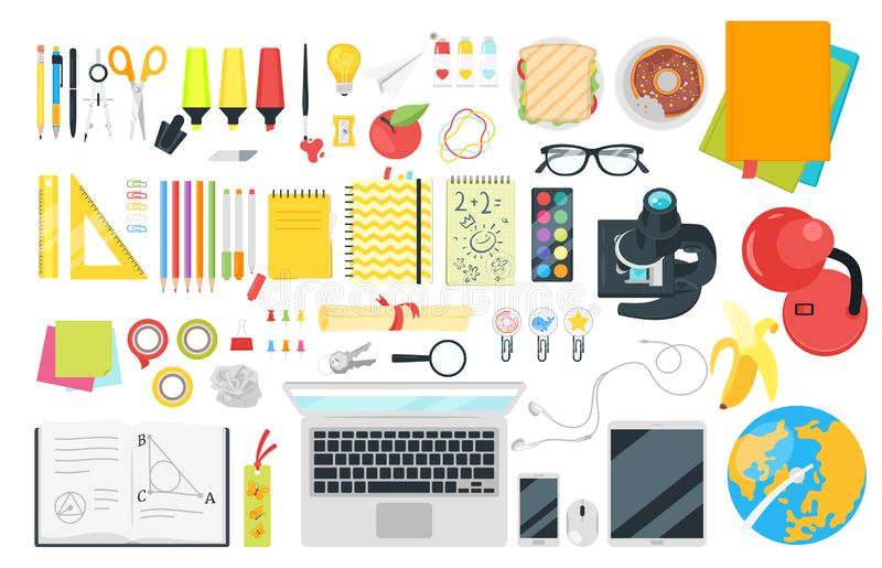 School stationery top view vector illustration