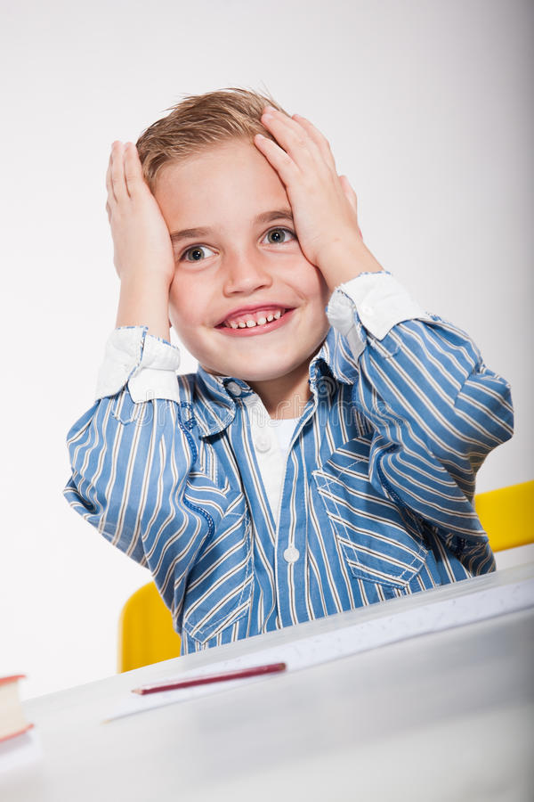 Download School stress stock photo. Image of cute, pencil, child - 21229680