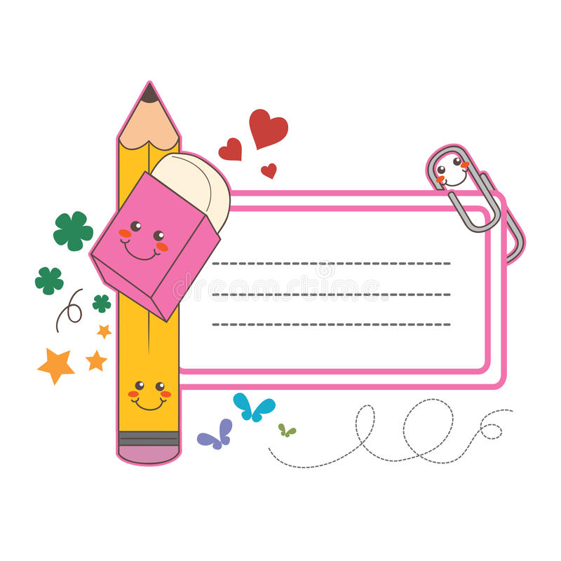 School student label. Cute back to school info label card royalty free illustration